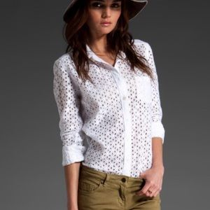 Equipment 'Brett' White Eyelet Shirt Small